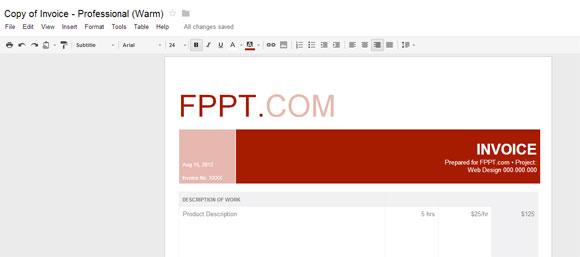 Warm Professionelle Rechnung Für Google Text Amp Tabellen