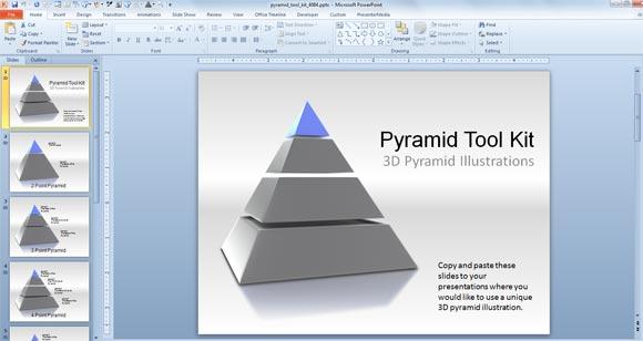 3dピラミッドpowerpointのテンプレートツールキット