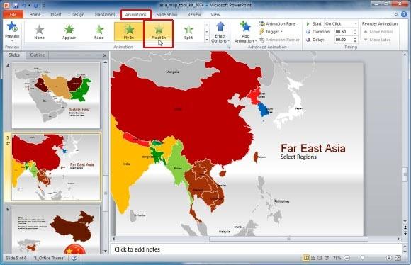 powerpointプレゼンテーションのためにアジアマップテンプレート