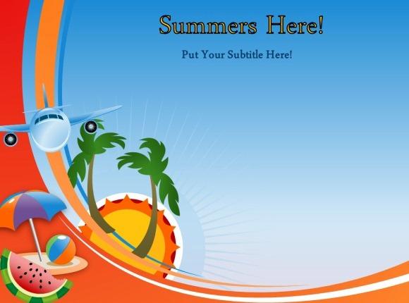 animasi musim panas template untuk powerpoint, Powerpoint templates