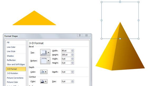 powerpoint 2010の中でシンプルな3dピラミッドを作成します