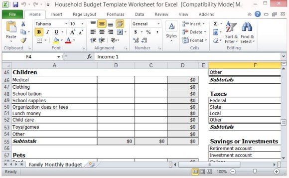 Household budget template india