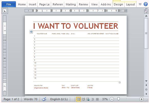 ボランティアは wordの場合はシートテンプレートをサインアップ