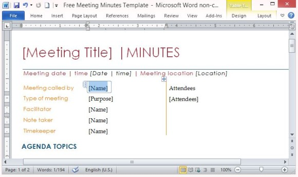 Kostenlose Meeting Minutes Vorlage für Word