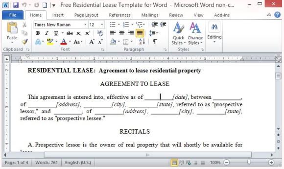 Freie Wohn Lease-Vorlage für Word