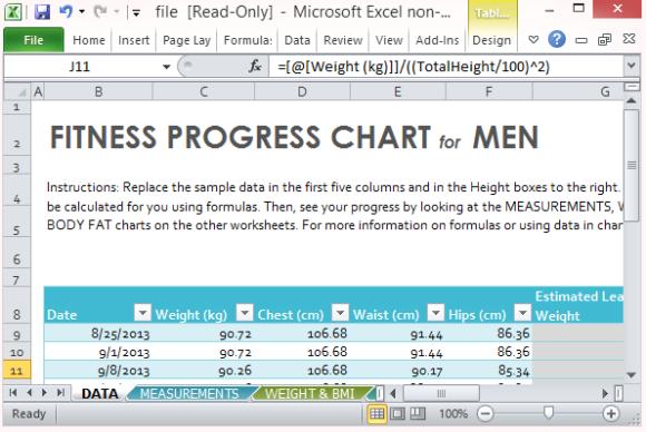 Fitness Fortschritt Diagrammvorlage für Excel