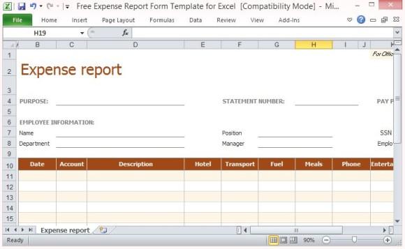 Gratis Expense Report Formularvorlage Fur Excel