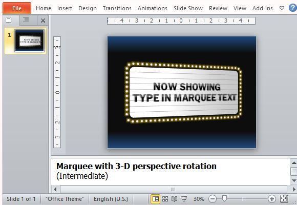 Kostenlose Powerpoint-Vorlage mit Film-Theater-Zeichen-Effekt