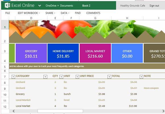 Grocery List und Preisvergleich Vorlage für Excel Online