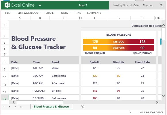 Blood Pressure Excel Template