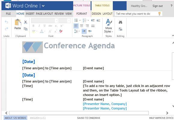 Freie Agenda Vorlagen für Word