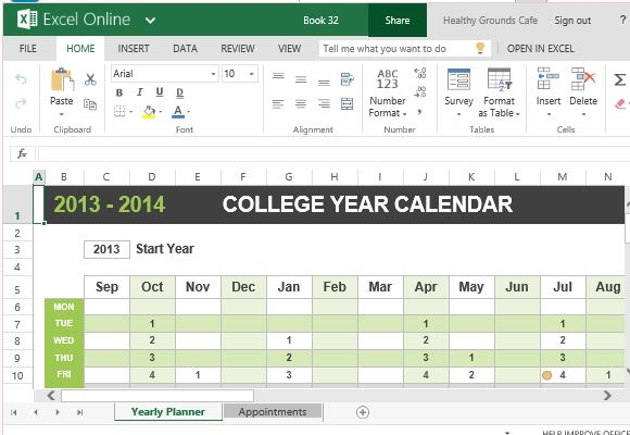 Activity Calendar Template Excel