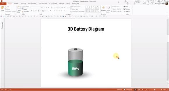 Tutorial do powerpoint como fazer grficos 3d bateria para o powerpoint usando formas ccuart Images
