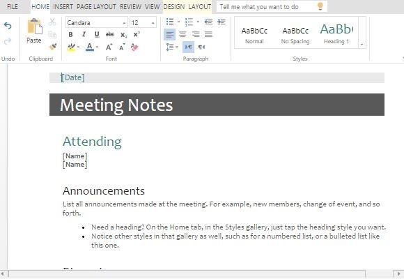 Meeting Minutes Vorlagen für Word