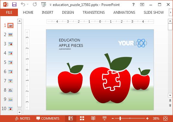 アニメーション教育パズルpowerpointのテンプレート