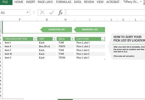 Lagerbestands Excel-Vorlage