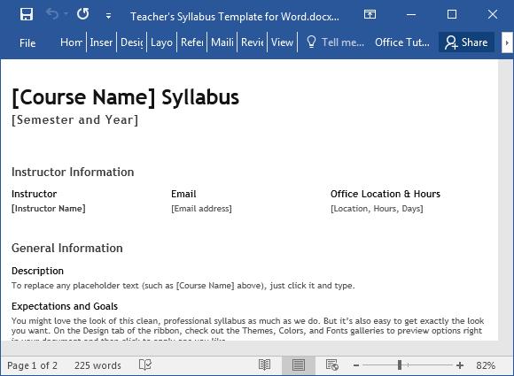 Lehrer Syllabus Vorlage für Word