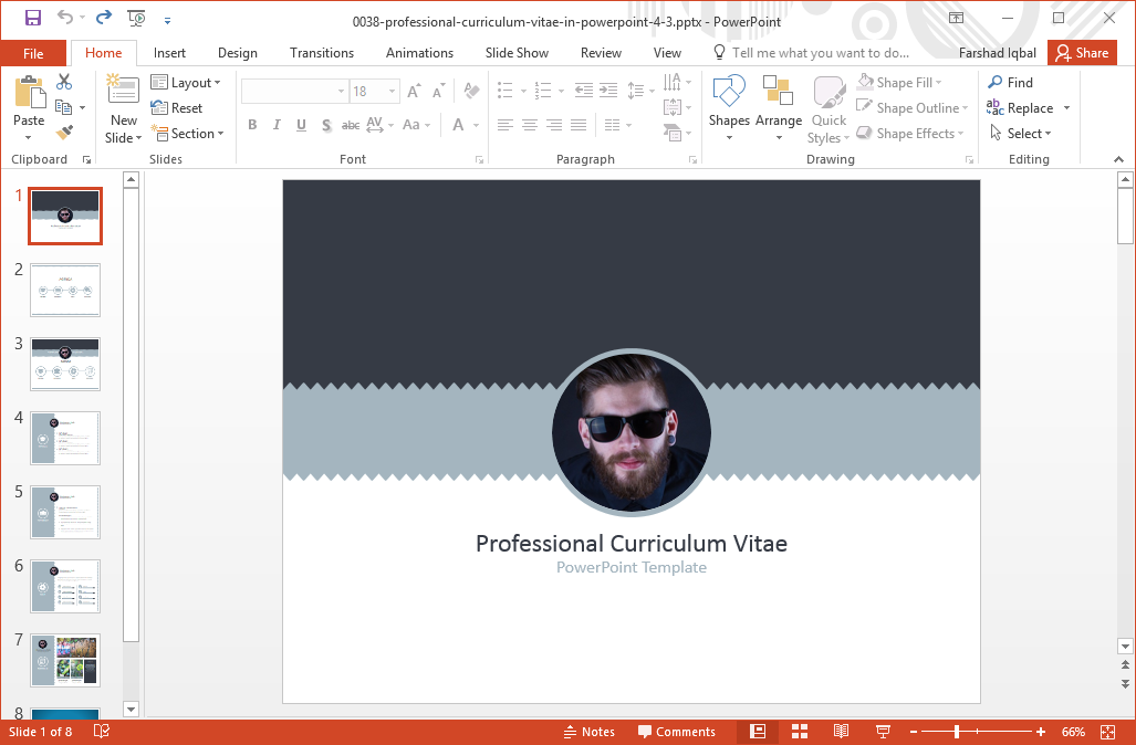 Professional Curriculum Vitae PowerPoint Template