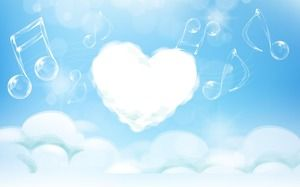 Blue beautiful heart shaped white cloud PPT background