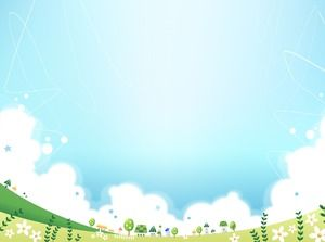 Blue green cute cartoon fairy tale landscape PPT picture
