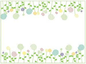 Green cute flowers and plants PPT background picture
