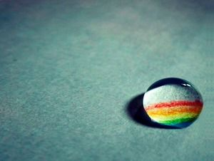 Rainbow PPT background picture in gray water drops