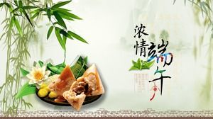 Small fresh bamboo forest background dragon boat festival ppt template
