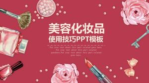 Red watercolor flower cosmetics background beauty PPT template