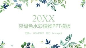 Green elegant watercolor leaves background Han Fan PPT template free download