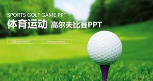 Green fresh golf course PPT template