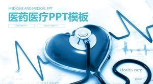 Health care PPT template with heart shaped stethoscope background