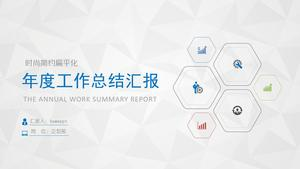 Simple and thin line style annual work summary PPT template