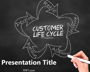 Gratuit Chalkboard Lifecycle client PowerPoint Template