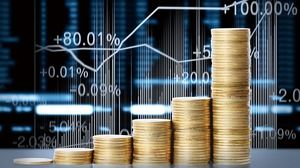 PPT background picture of stock market and gold coins