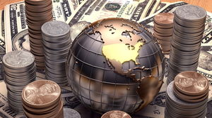 Coin dollar globe PPT background picture