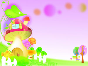 Color beautiful cartoon mushroom house PPT background picture