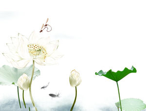 Ink lotus carp chinese style PPT background picture