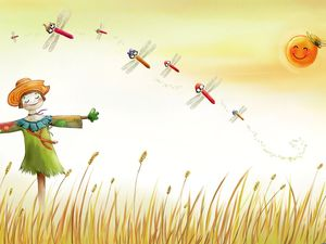 Scarecrow cartoon PPT background picture