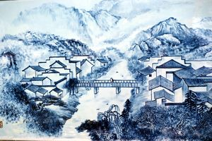 PPT background picture of ink and wash style architectural landscape