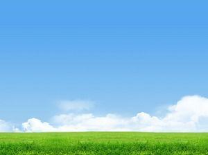 Langit Biru Dan Awan Putih Padang Rumput Pemandangan Alam PowerPoint Gambar  Latar Belakang PowerPoint Template Free Download
