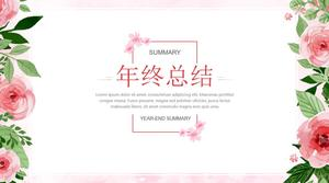 Plant vine leaves flower literary style year-end summary ppt template