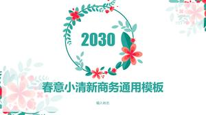 Color vector garland flowers spring freshness business report universal ppt template