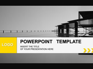 Yellow gray simple geometric style business work summary report general ppt template