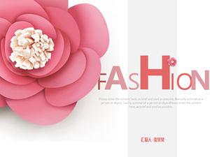 Pink atmosphere high-end fashion work summary report ppt template