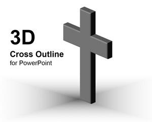 3D Cross Outline PowerPoint Template