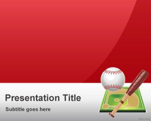 Red Baseball PowerPoint Template
