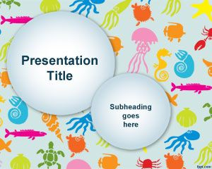 Colorful Sea Species PowerPoint Template