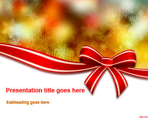 Christmas Bow Powerpoint Template Powerpoint Templates Free