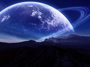 A group of beautiful blue sky planet PPT background picture (b)