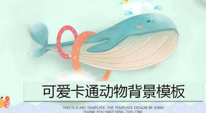 Beautiful and cute cartoon whale PPT template